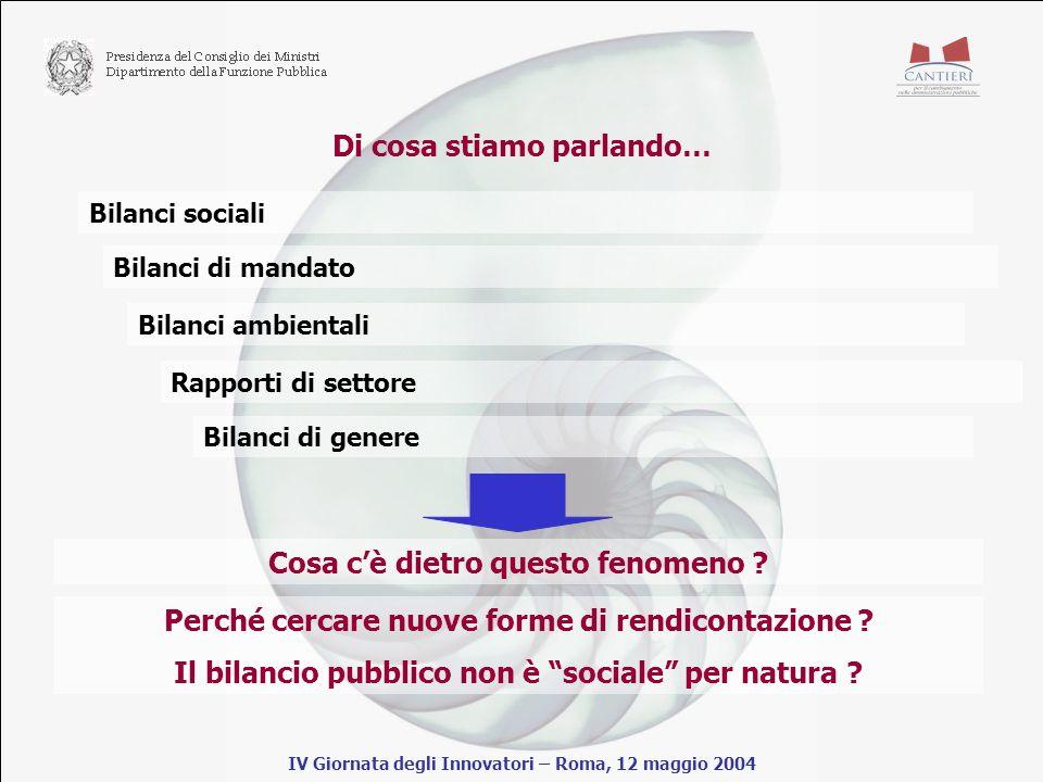 Di cosa stiamo parlando… IV Giornata degli Innovatori – Roma, 12 maggio 2004 Bilanci sociali Bilanci di mandato Bilanci ambientali Rapporti di settore Bilanci di genere Cosa cè dietro questo fenomeno .