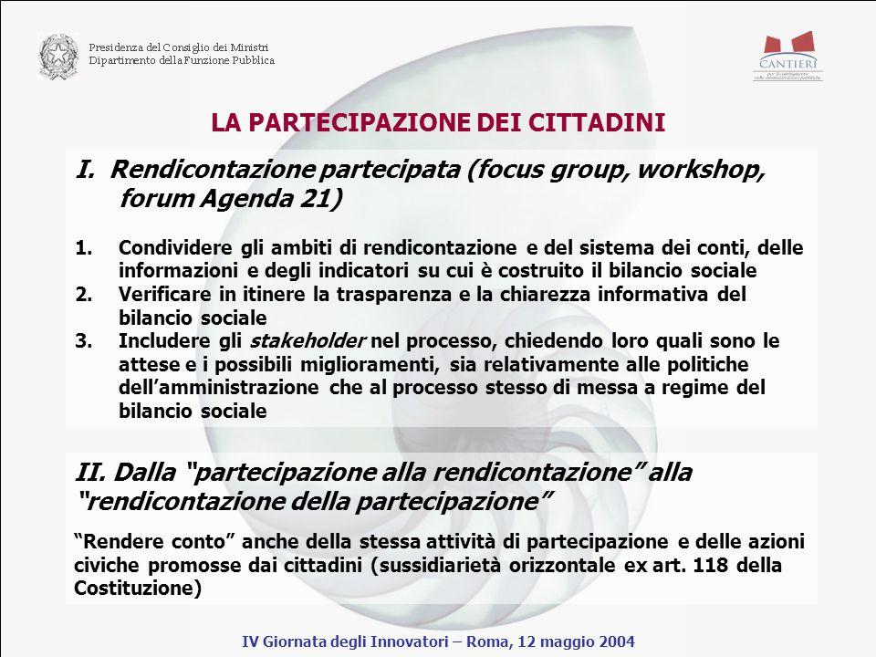LA PARTECIPAZIONE DEI CITTADINI IV Giornata degli Innovatori – Roma, 12 maggio 2004 I.