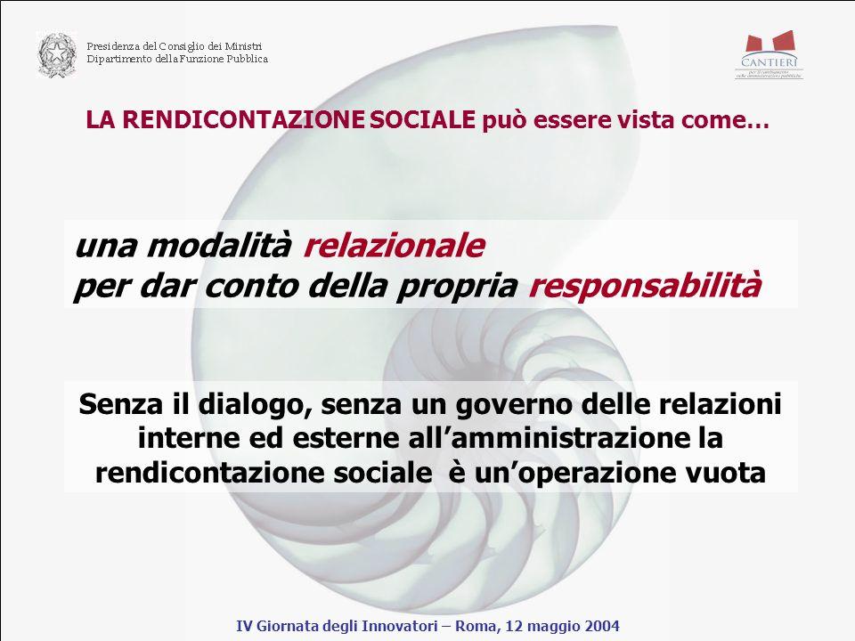 LA RENDICONTAZIONE SOCIALE può essere vista come… IV Giornata degli Innovatori – Roma, 12 maggio 2004 una modalità relazionale per dar conto della propria responsabilità Senza il dialogo, senza un governo delle relazioni interne ed esterne allamministrazione la rendicontazione sociale è unoperazione vuota