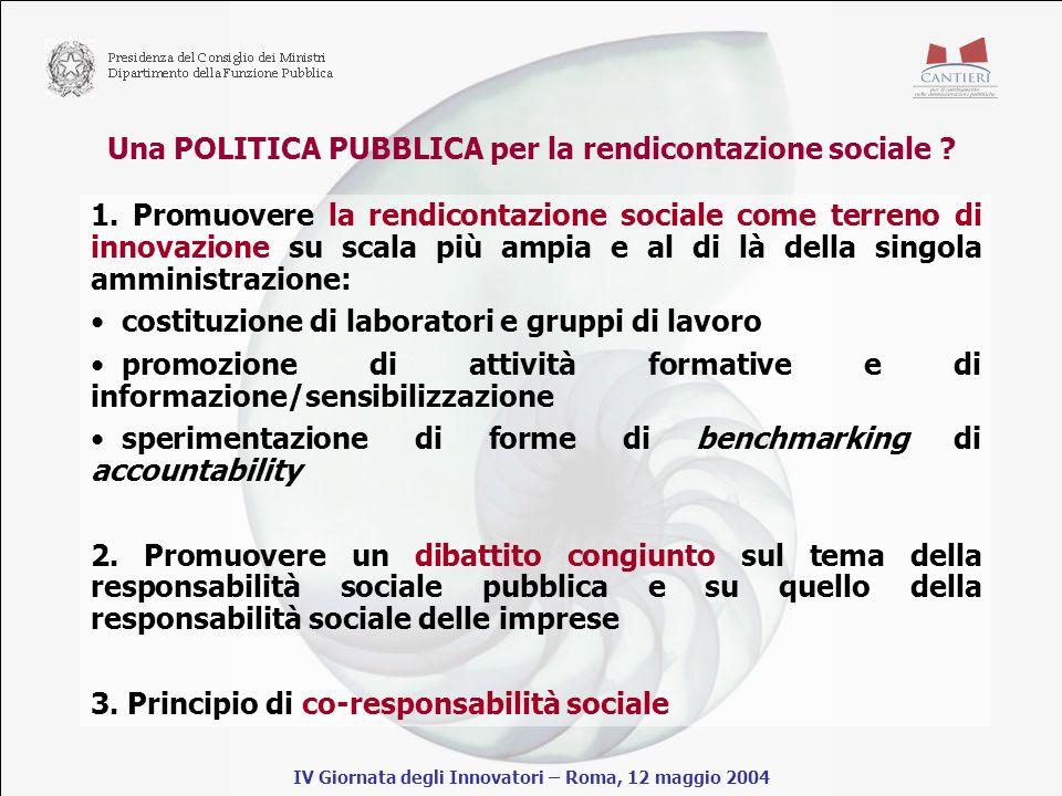 Una POLITICA PUBBLICA per la rendicontazione sociale .