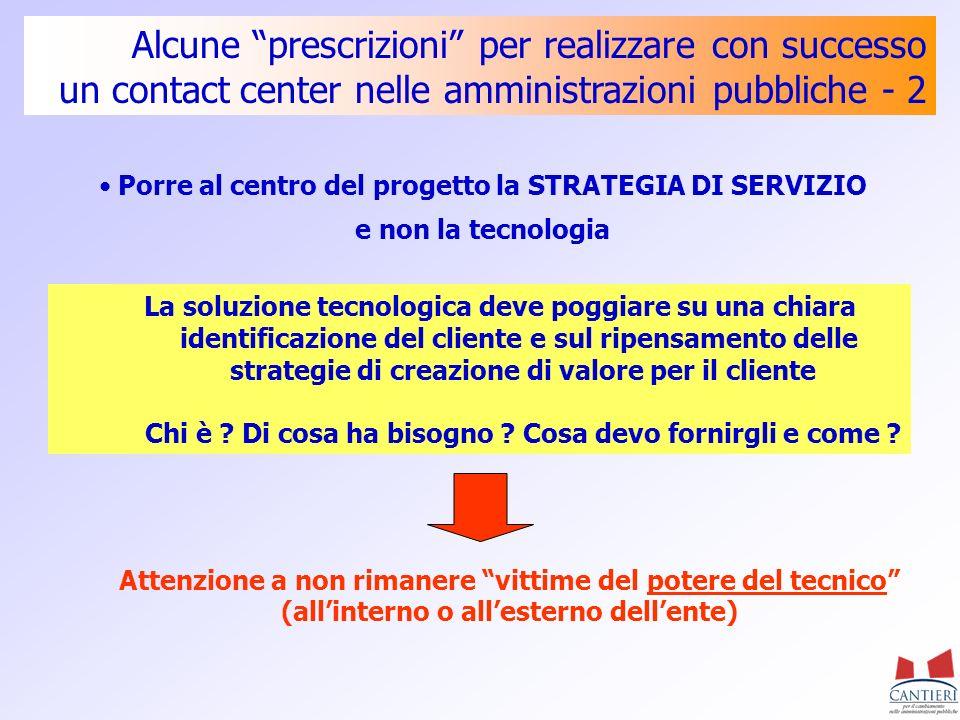 Alcune prescrizioni per realizzare con successo un contact center nelle amministrazioni pubbliche - 2 Porre al centro del progetto la STRATEGIA DI SER