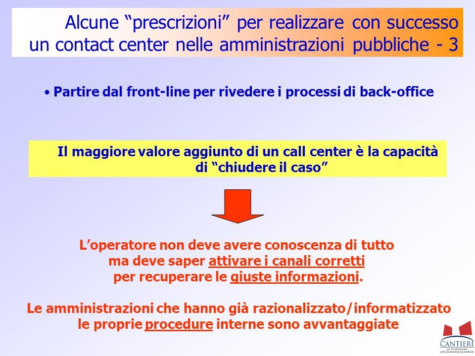 Alcune prescrizioni per realizzare con successo un contact center nelle amministrazioni pubbliche - 3 Partire dal front-line per rivedere i processi d