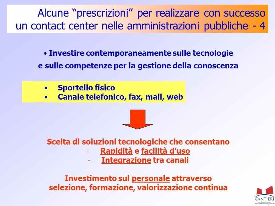 Alcune prescrizioni per realizzare con successo un contact center nelle amministrazioni pubbliche - 4 Investire contemporaneamente sulle tecnologie e