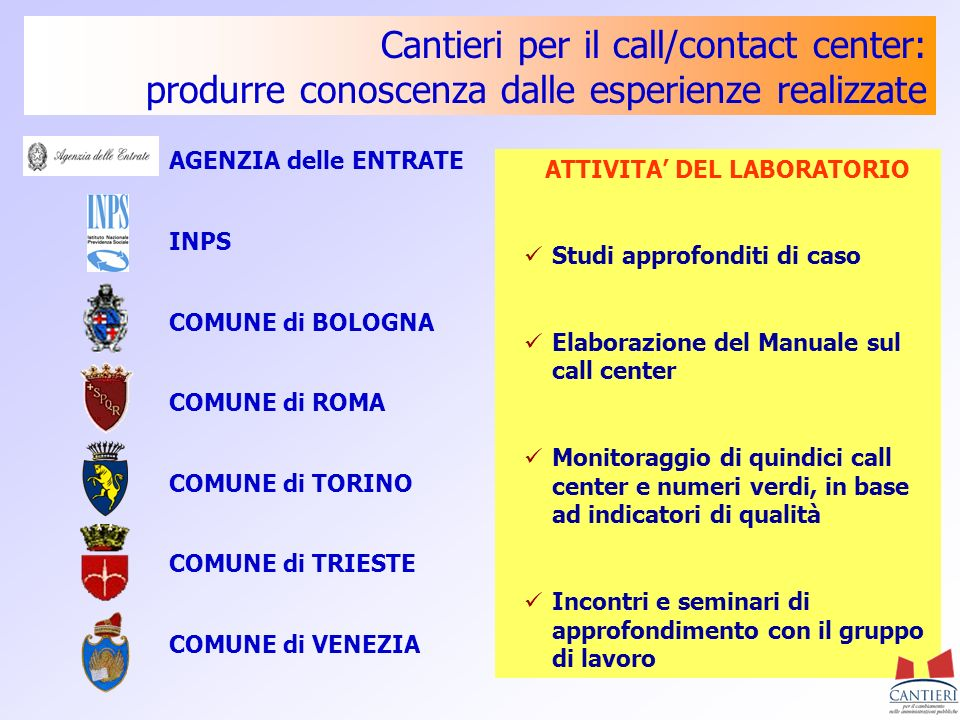 Cantieri per il call/contact center: produrre conoscenza dalle esperienze realizzate AGENZIA delle ENTRATE INPS COMUNE di BOLOGNA COMUNE di ROMA COMUN
