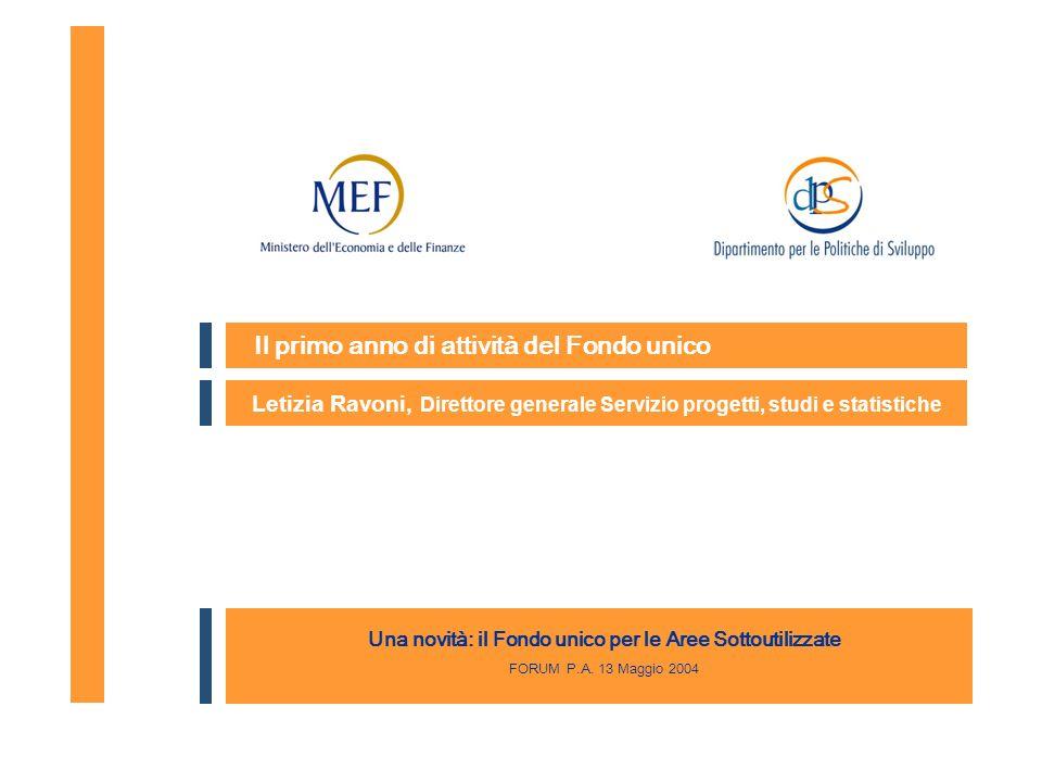 Il primo anno di attività del Fondo unico Letizia Ravoni, Direttore generale Servizio progetti, studi e statistiche Una novità: il Fondo unico per le Aree Sottoutilizzate FORUM P.A.