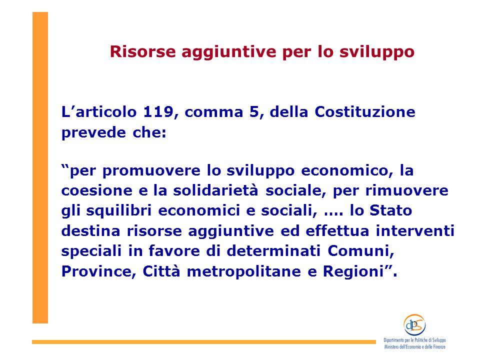 Risorse aggiuntive per lo sviluppo Larticolo 119, comma 5, della Costituzione prevede che: per promuovere lo sviluppo economico, la coesione e la solidarietà sociale, per rimuovere gli squilibri economici e sociali, ….