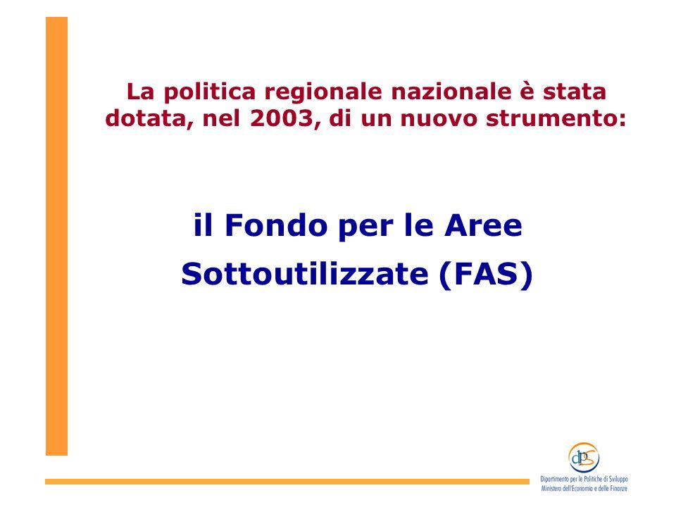 il Fondo per le Aree Sottoutilizzate (FAS) La politica regionale nazionale è stata dotata, nel 2003, di un nuovo strumento: