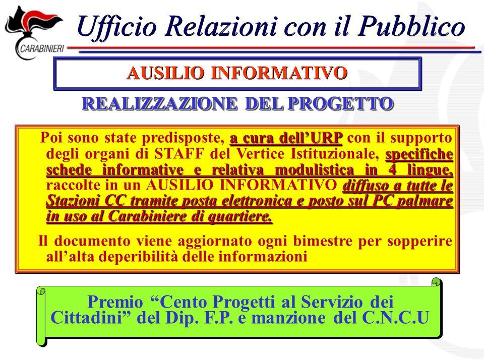 Ufficio Relazioni con il Pubblico AUSILIO INFORMATIVO REALIZZAZIONE DEL PROGETTO a cura dellURP specifiche schede informative e relativa modulistica i