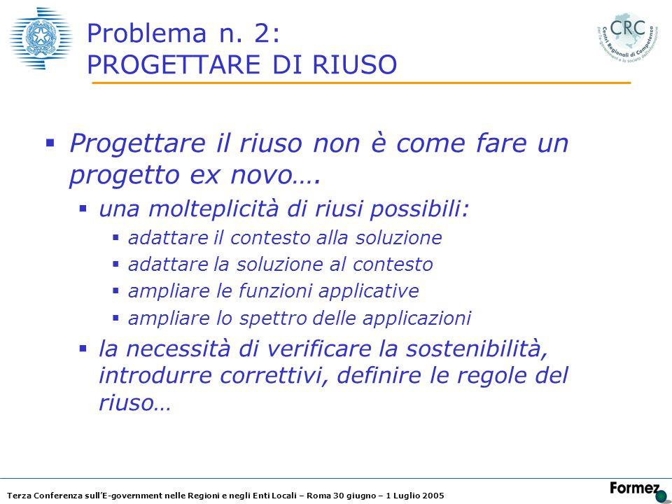 Terza Conferenza sullE-government nelle Regioni e negli Enti Locali – Roma 30 giugno – 1 Luglio 2005 Problema n. 2: PROGETTARE DI RIUSO Progettare il
