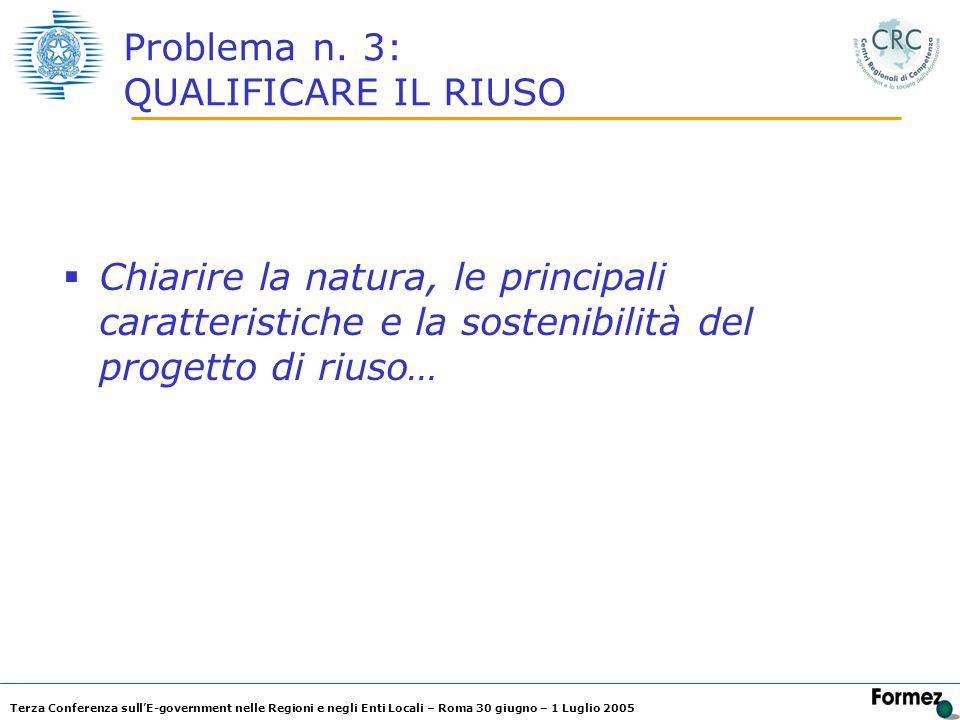 Terza Conferenza sullE-government nelle Regioni e negli Enti Locali – Roma 30 giugno – 1 Luglio 2005 Problema n. 3: QUALIFICARE IL RIUSO Chiarire la n