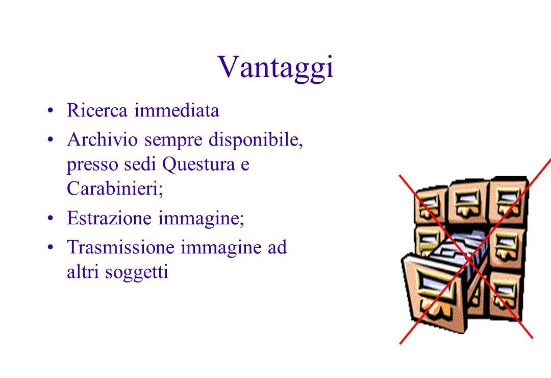 Vantaggi Ricerca immediata Archivio sempre disponibile, presso sedi Questura e Carabinieri; Estrazione immagine; Trasmissione immagine ad altri sogget