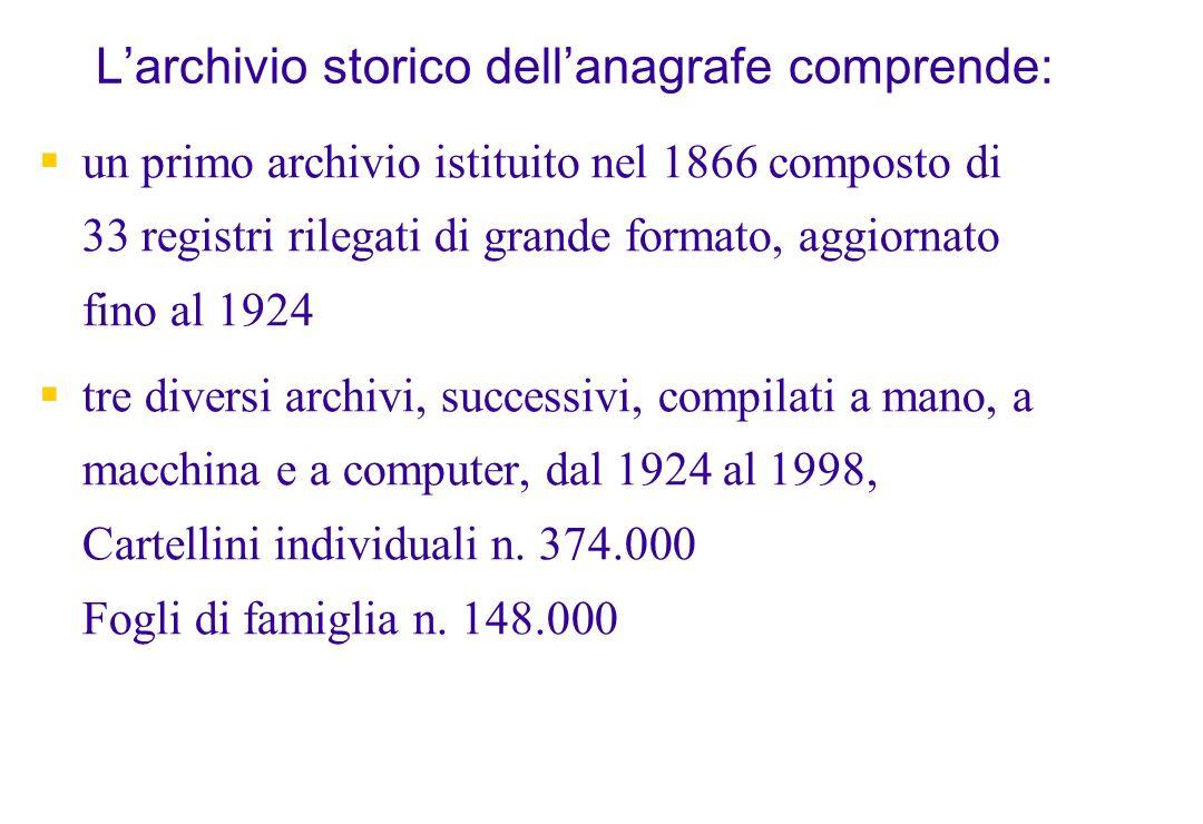 Larchivio storico dellanagrafe comprende: un primo archivio istituito nel 1866 composto di 33 registri rilegati di grande formato, aggiornato fino al