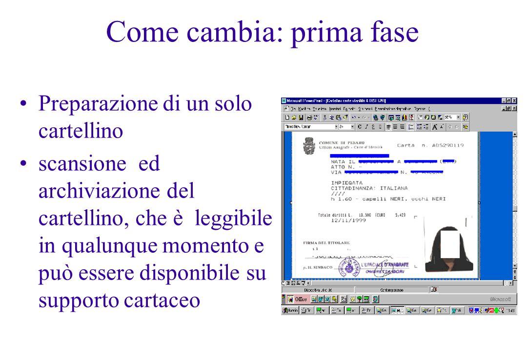 Come cambia: seconda fase Carta di identità elettronica Il cartellino conservato da Comune e Questura diviene di tipo digitale: da cartaceo a cartellino elettronico.
