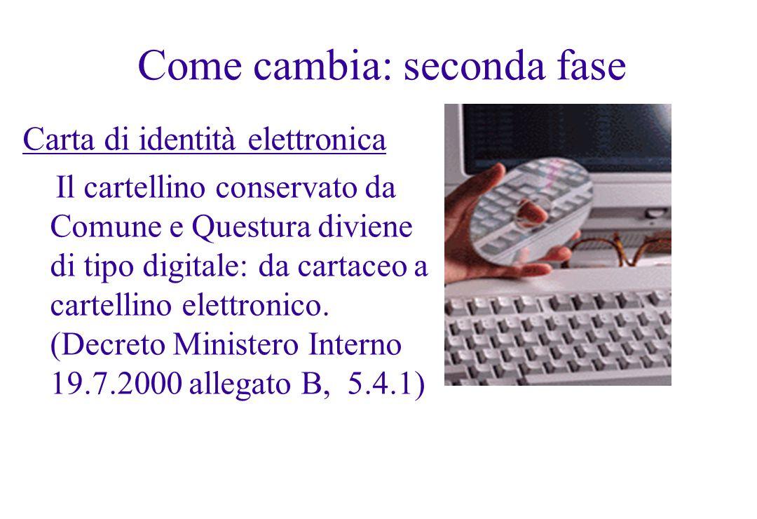 Come cambia: seconda fase Carta di identità elettronica Il cartellino conservato da Comune e Questura diviene di tipo digitale: da cartaceo a cartelli