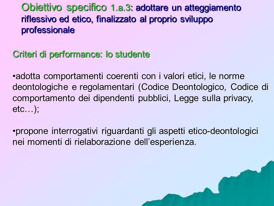 Obiettivo specifico 1.a.3: adottare un atteggiamento riflessivo ed etico, finalizzato al proprio sviluppo professionale Criteri di performance: lo stu