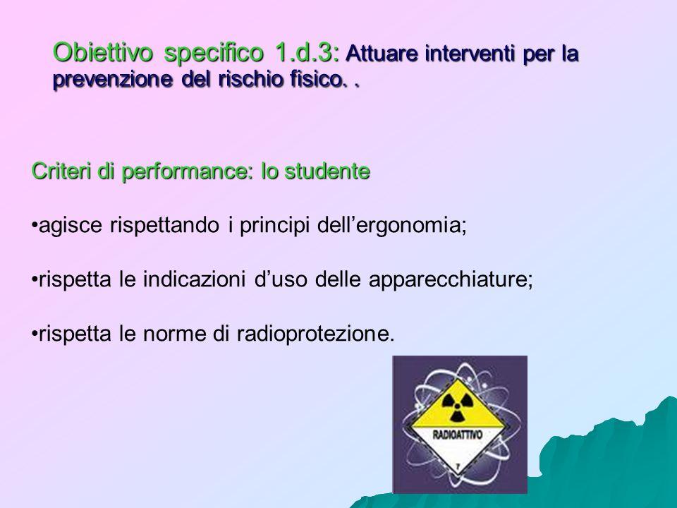 Obiettivo specifico 1.d.3: Attuare interventi per la prevenzione del rischio fisico.. Criteri di performance: lo studente agisce rispettando i princip