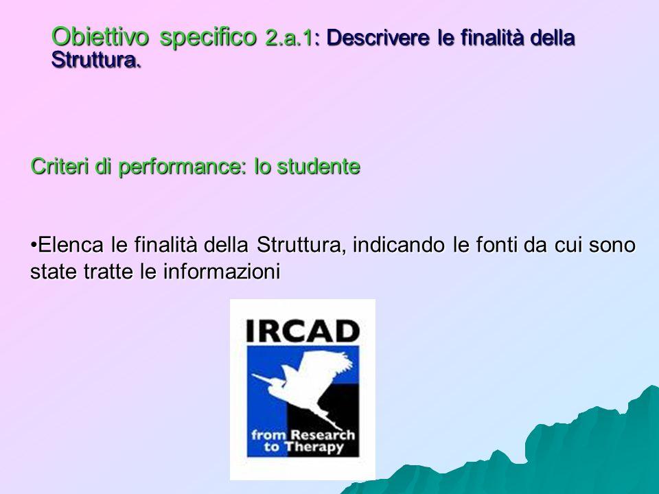Obiettivo specifico 2.a.1: Descrivere le finalità della Struttura. Criteri di performance: lo studente Elenca le finalità della Struttura, indicando l