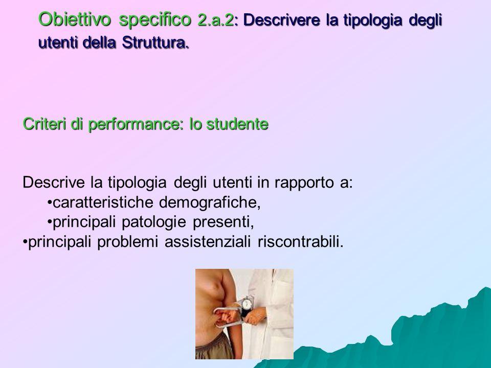 Obiettivo specifico 2.a.2: Descrivere la tipologia degli utenti della Struttura. Criteri di performance: lo studente Descrive la tipologia degli utent