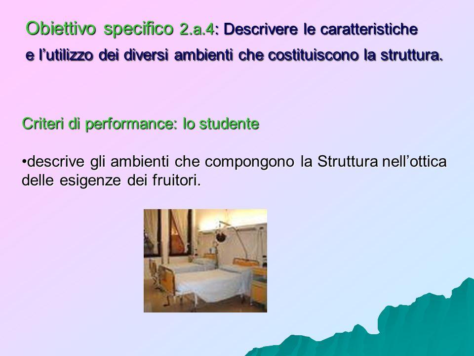 Obiettivo specifico 2.a.4: Descrivere le caratteristiche e lutilizzo dei diversi ambienti che costituiscono la struttura. Criteri di performance: lo s