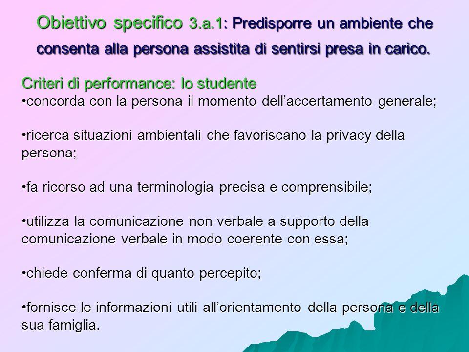 Obiettivo specifico 3.a.1: Predisporre un ambiente che consenta alla persona assistita di sentirsi presa in carico. Criteri di performance: lo student