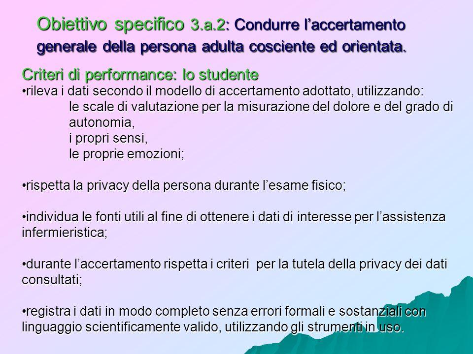 Obiettivo specifico 3.a.2: Condurre laccertamento generale della persona adulta cosciente ed orientata. Criteri di performance: lo studente rileva i d
