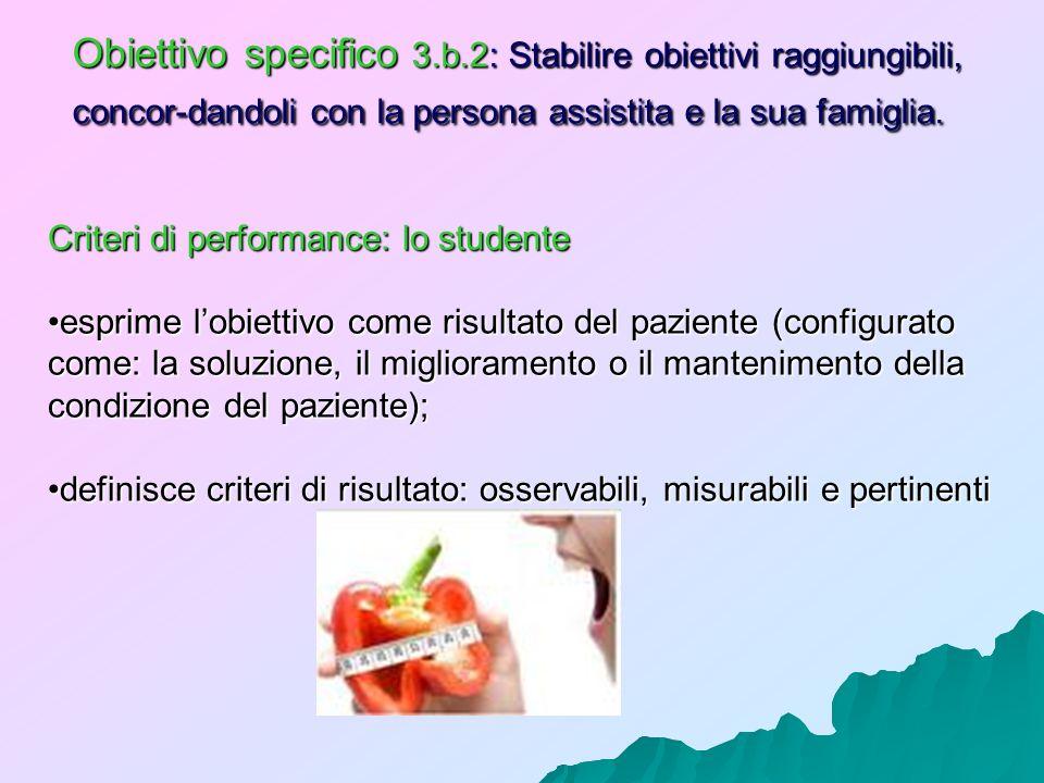 Obiettivo specifico 3.b.2: Stabilire obiettivi raggiungibili, concor-dandoli con la persona assistita e la sua famiglia. Criteri di performance: lo st