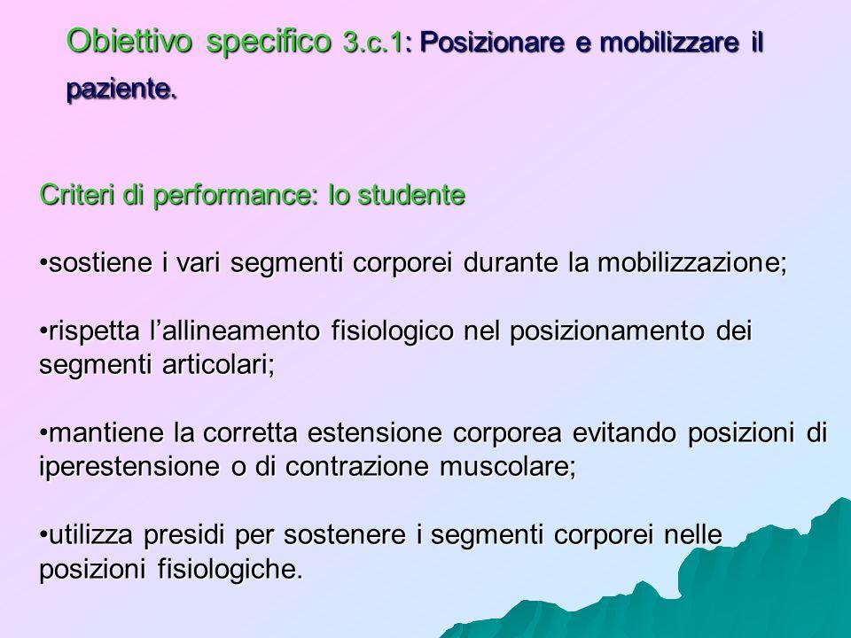 Obiettivo specifico 3.c.1: Posizionare e mobilizzare il paziente. Criteri di performance: lo studente sostiene i vari segmenti corporei durante la mob