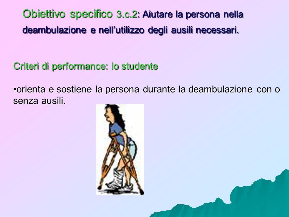 Obiettivo specifico 3.c.2: Aiutare la persona nella deambulazione e nellutilizzo degli ausili necessari. Criteri di performance: lo studente orienta e