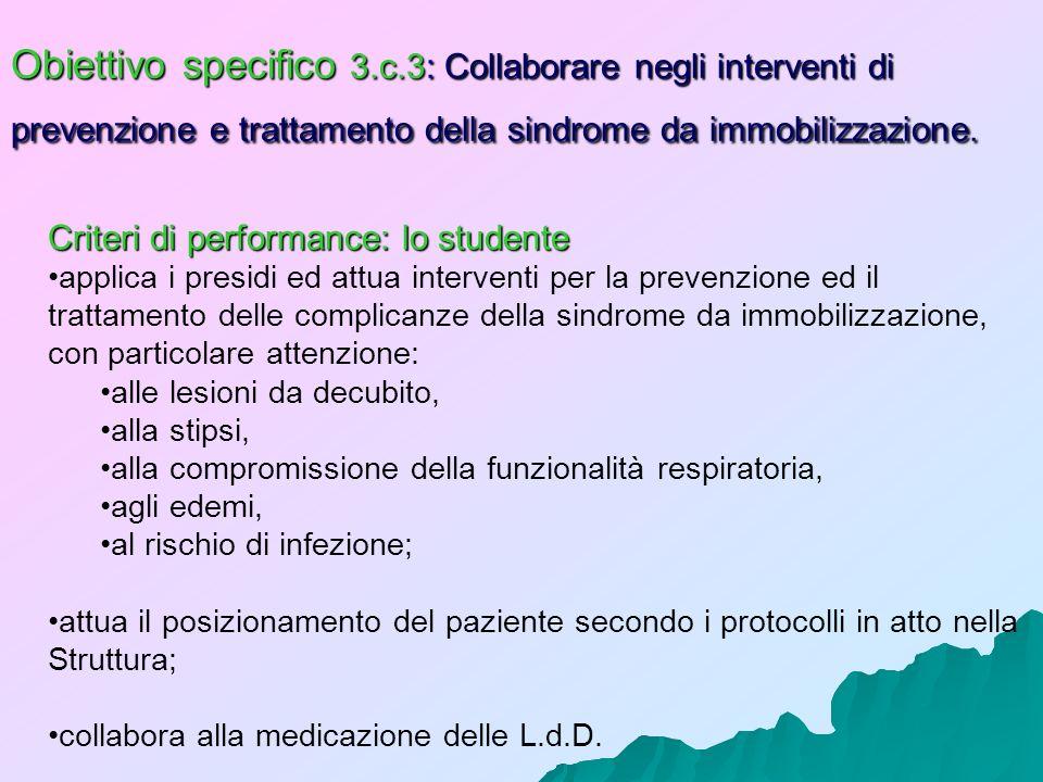 Obiettivo specifico 3.c.3: Collaborare negli interventi di prevenzione e trattamento della sindrome da immobilizzazione. Criteri di performance: lo st