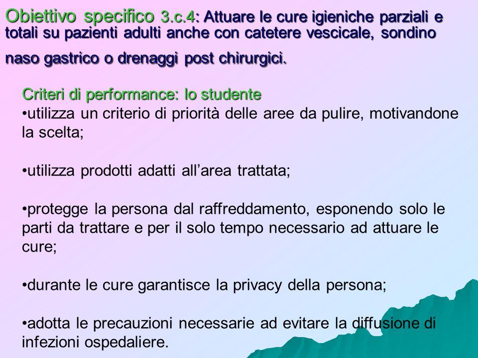 Obiettivo specifico 3.c.4: Attuare le cure igieniche parziali e totali su pazienti adulti anche con catetere vescicale, sondino naso gastrico o drenag