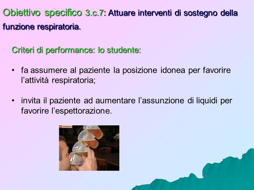 Obiettivo specifico 3.c.7: Attuare interventi di sostegno della funzione respiratoria. Criteri di performance: lo studente: fa assumere al paziente la