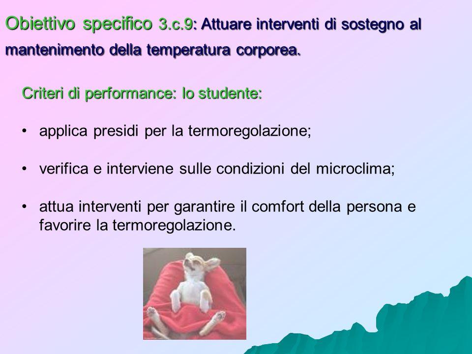 Obiettivo specifico 3.c.9: Attuare interventi di sostegno al mantenimento della temperatura corporea. Criteri di performance: lo studente: applica pre