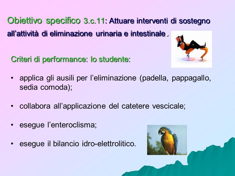 Obiettivo specifico 3.c.11: Attuare interventi di sostegno allattività di eliminazione urinaria e intestinale. Criteri di performance: lo studente: ap