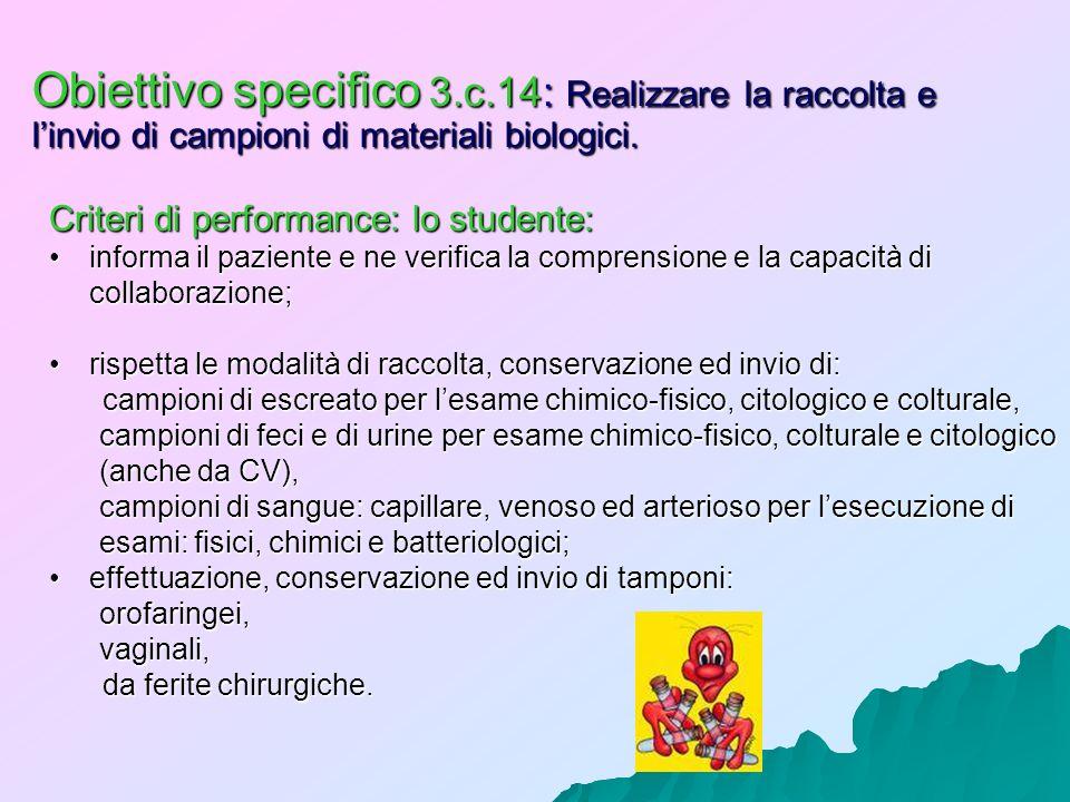 Obiettivo specifico 3.c.14: Realizzare la raccolta e linvio di campioni di materiali biologici. Criteri di performance: lo studente: informa il pazien