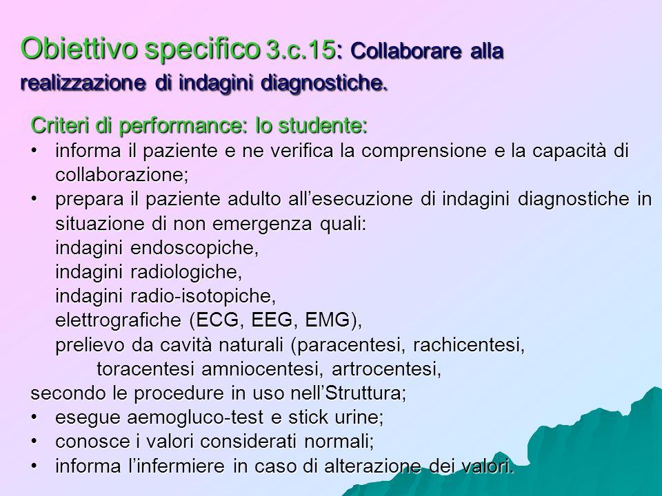 Obiettivo specifico 3.c.15: Collaborare alla realizzazione di indagini diagnostiche. Criteri di performance: lo studente: informa il paziente e ne ver