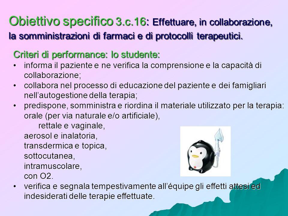 Obiettivo specifico 3.c.16: Effettuare, in collaborazione, la somministrazioni di farmaci e di protocolli terapeutici. Criteri di performance: lo stud