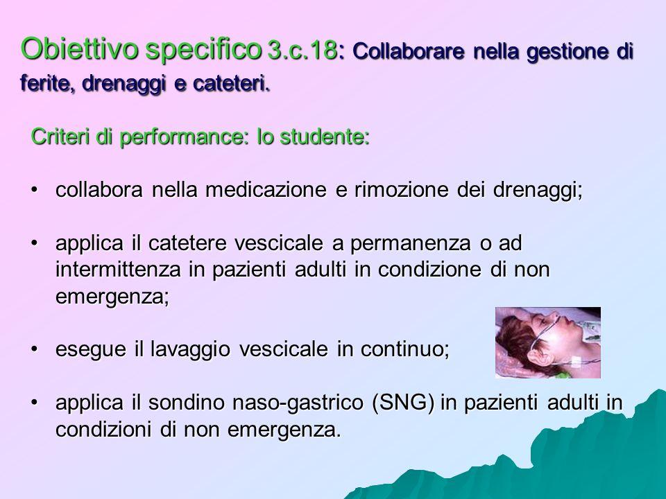 Obiettivo specifico 3.c.18: Collaborare nella gestione di ferite, drenaggi e cateteri. Criteri di performance: lo studente: collabora nella medicazion