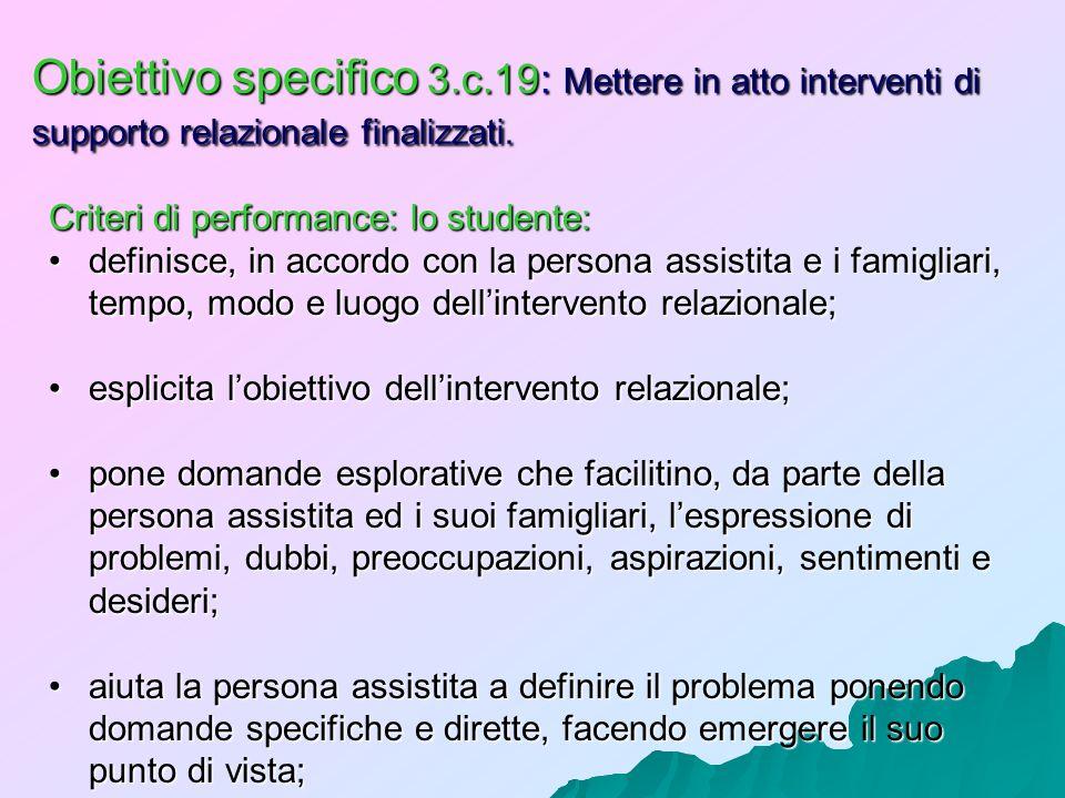Obiettivo specifico 3.c.19: Mettere in atto interventi di supporto relazionale finalizzati. Criteri di performance: lo studente: definisce, in accordo