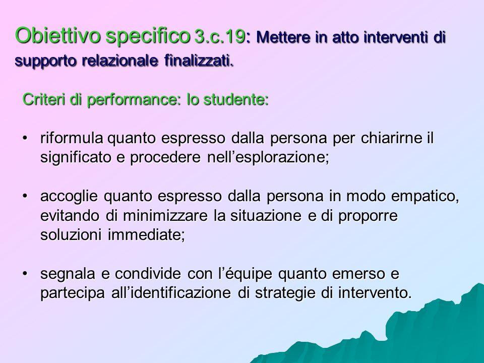 Obiettivo specifico 3.c.19: Mettere in atto interventi di supporto relazionale finalizzati. Criteri di performance: lo studente: riformula quanto espr