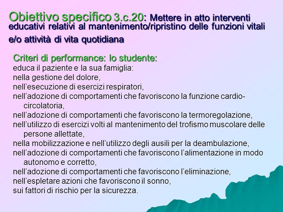 Obiettivo specifico 3.c.20: Mettere in atto interventi educativi relativi al mantenimento/ripristino delle funzioni vitali e/o attività di vita quotid