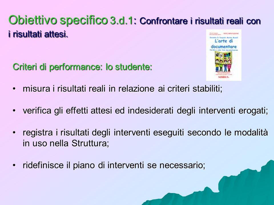 Obiettivo specifico 3.d.1: Confrontare i risultati reali con i risultati attesi. Criteri di performance: lo studente: misura i risultati reali in rela
