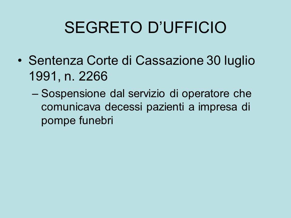 SEGRETO DUFFICIO Sentenza Corte di Cassazione 30 luglio 1991, n. 2266 –Sospensione dal servizio di operatore che comunicava decessi pazienti a impresa