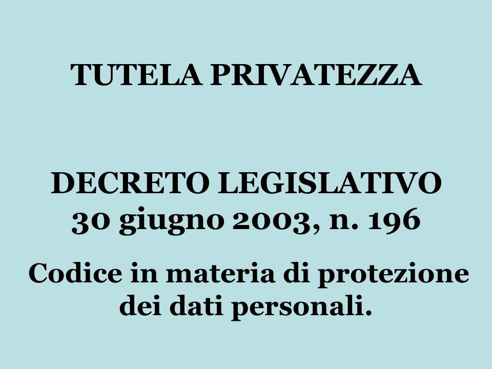 TUTELA PRIVATEZZA DECRETO LEGISLATIVO 30 giugno 2003, n. 196 Codice in materia di protezione dei dati personali.