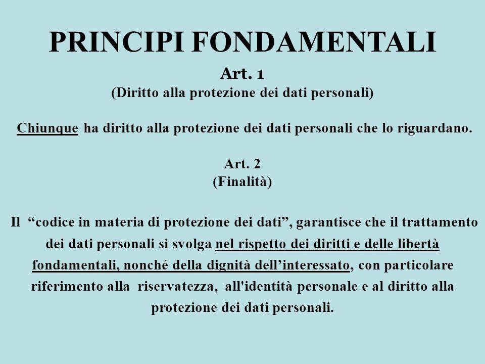 Art. 1 (Diritto alla protezione dei dati personali) Chiunque ha diritto alla protezione dei dati personali che lo riguardano. Art. 2 (Finalità) Il cod