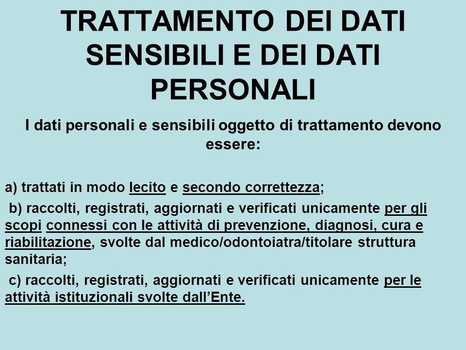 TRATTAMENTO DEI DATI SENSIBILI E DEI DATI PERSONALI I dati personali e sensibili oggetto di trattamento devono essere: a) trattati in modo lecito e se