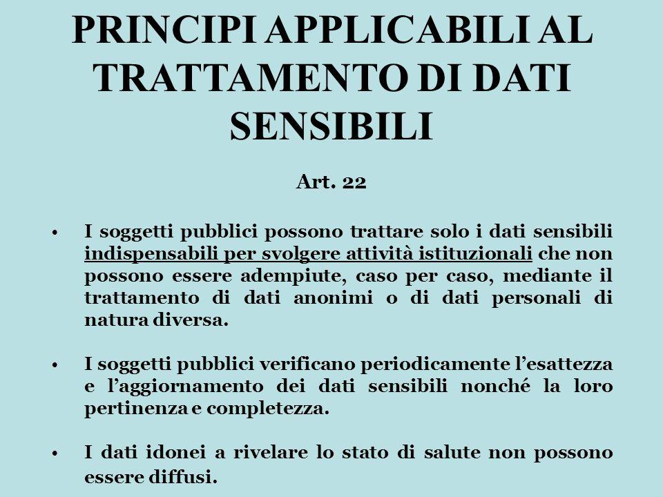 Art. 22 I soggetti pubblici possono trattare solo i dati sensibili indispensabili per svolgere attività istituzionali che non possono essere adempiute