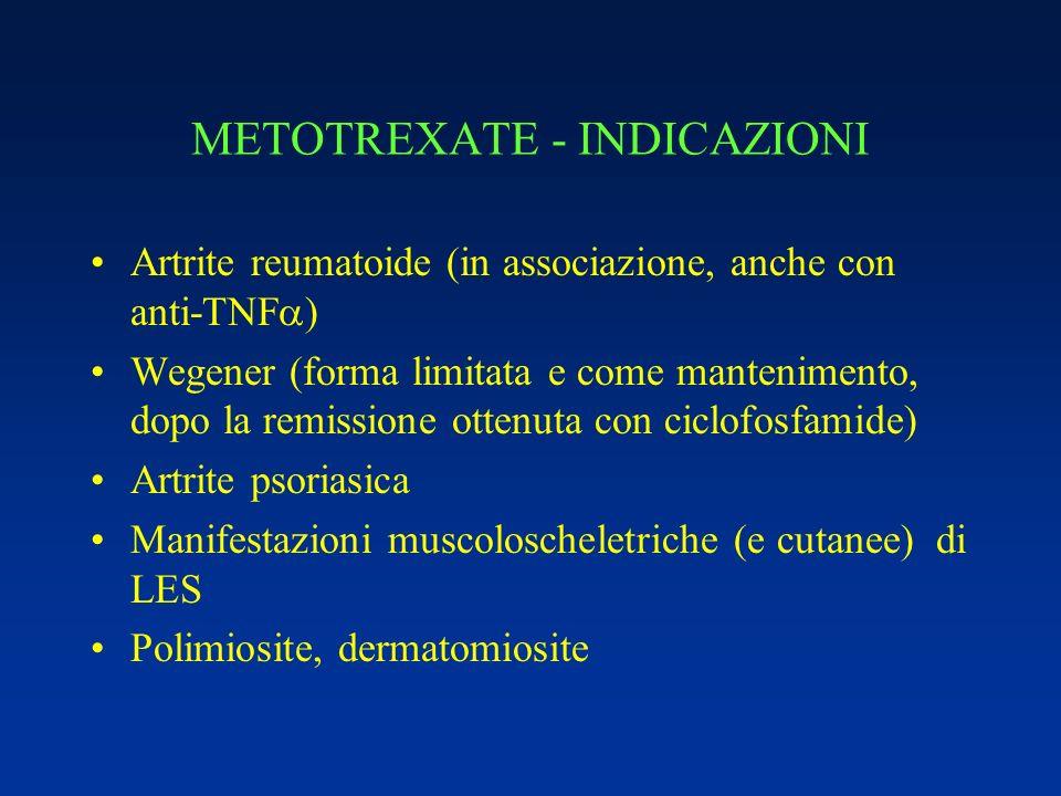 METOTREXATE - INDICAZIONI Artrite reumatoide (in associazione, anche con anti-TNF ) Wegener (forma limitata e come mantenimento, dopo la remissione ot