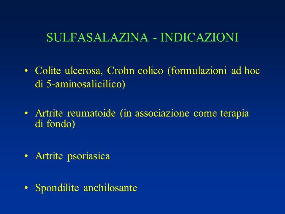 SULFASALAZINA - INDICAZIONI Colite ulcerosa, Crohn colico (formulazioni ad hoc di 5-aminosalicilico) Artrite reumatoide (in associazione come terapia