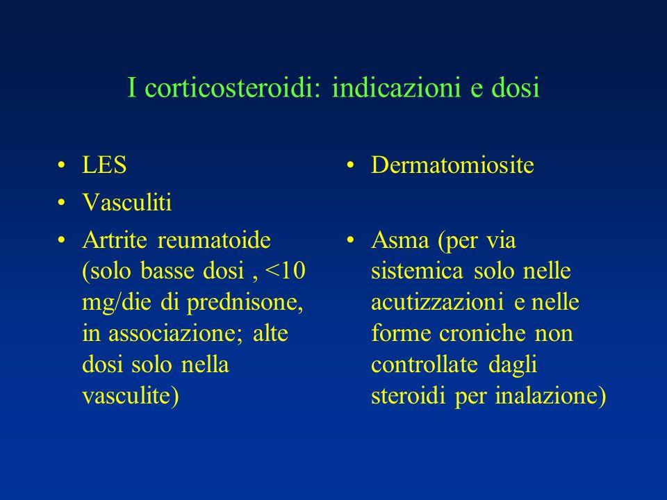 I corticosteroidi: indicazioni e dosi LES Vasculiti Artrite reumatoide (solo basse dosi, <10 mg/die di prednisone, in associazione; alte dosi solo nel