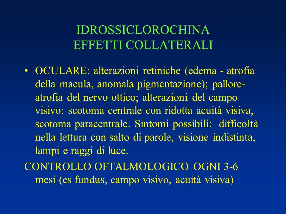 IDROSSICLOROCHINA EFFETTI COLLATERALI OCULARE: alterazioni retiniche (edema - atrofia della macula, anomala pigmentazione); pallore- atrofia del nervo